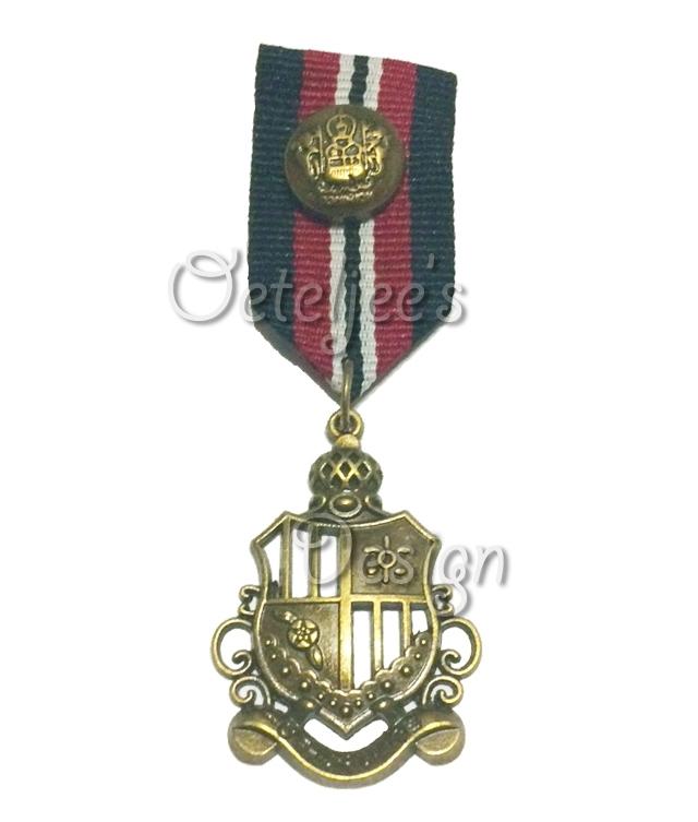 Medaille 7 zwart/ bordeau/wit met bronzen wapen
