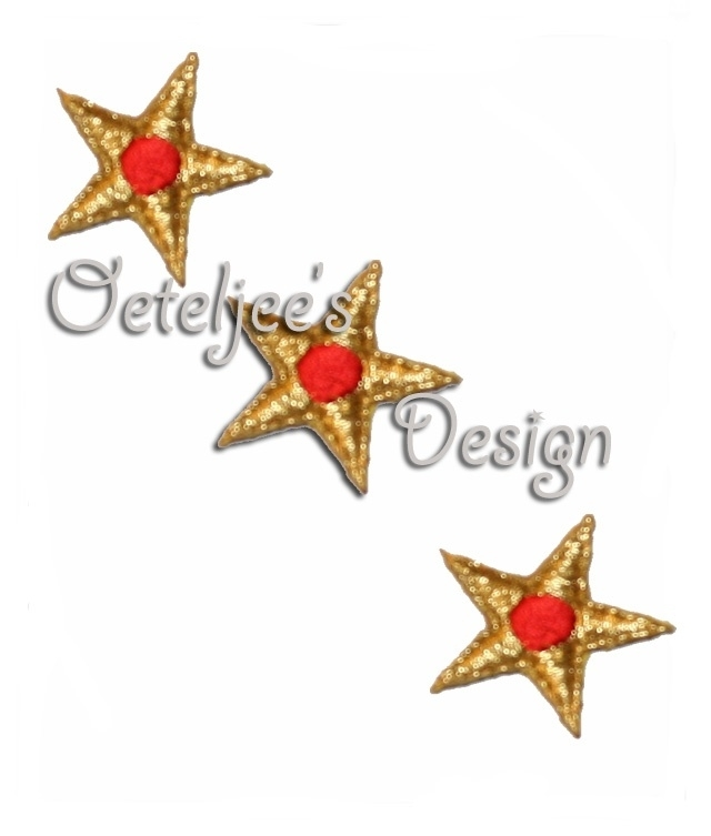 Sterretjes goud met rode stip applicatie opstrijkbaar