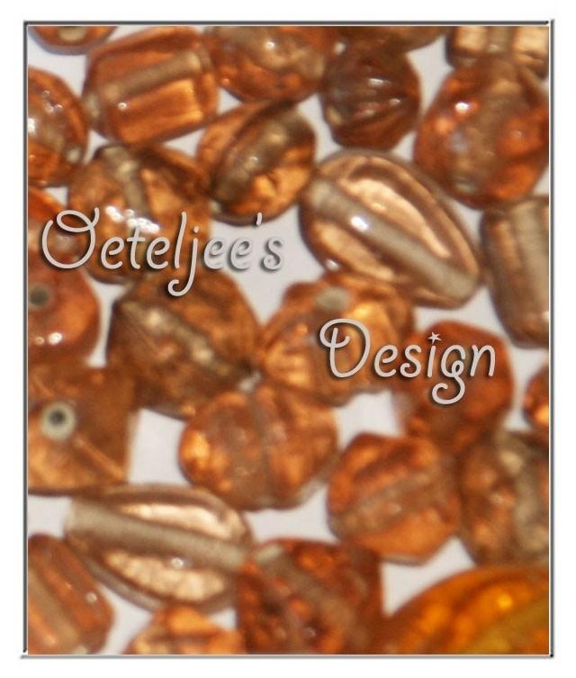 Glaskralen - Vintage bruin/oranje 100 gram