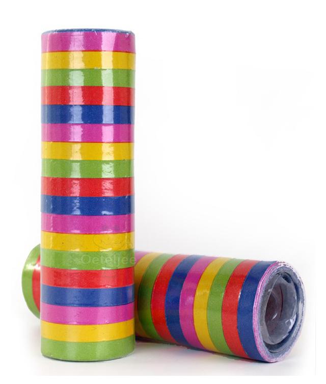 Serpentines onbedrukt 5 kleuren (per rol)