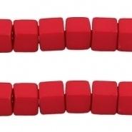 Acryl kralen kubus Diep rood