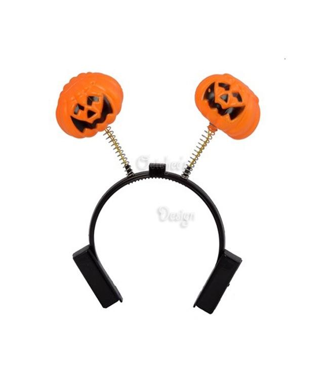 Haarbeugel pompoen (halloween) met led verlichting