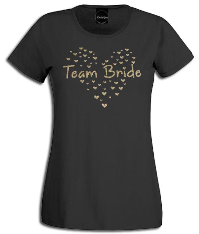 """T-shirt ronde hals zwart met gouden glitter opdruk """"Team Bride"""" en hartjes"""