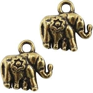 Metalen bedel olifant antiek goud