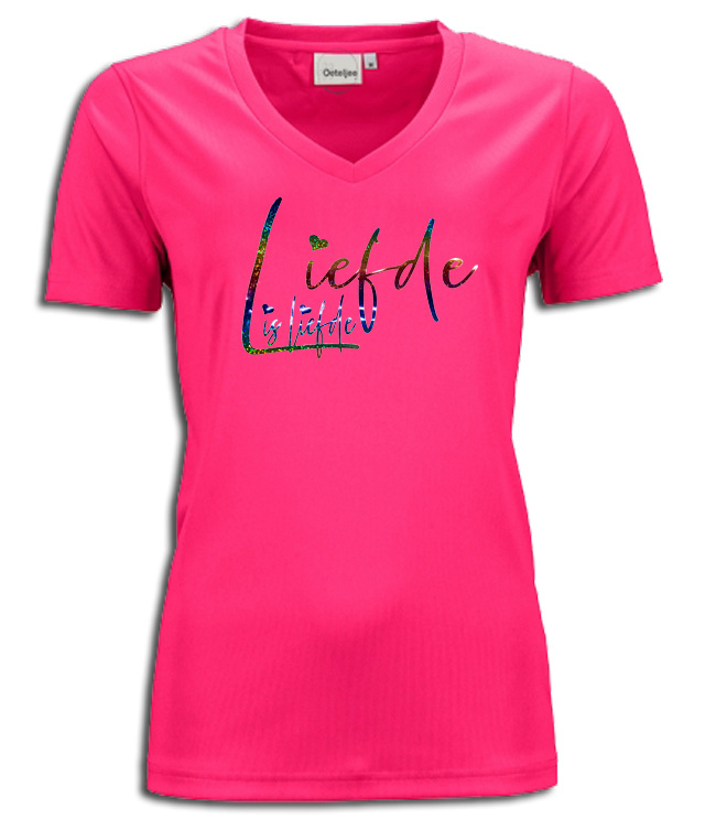 "T-shirt  fuchsia roze maandag / gay pride met glitter rainbow tekst ""Liefde is liefde"""