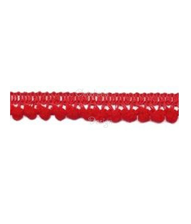 Mini pompomband rood
