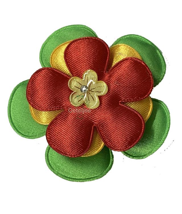 Corsage bloem rood geel groen