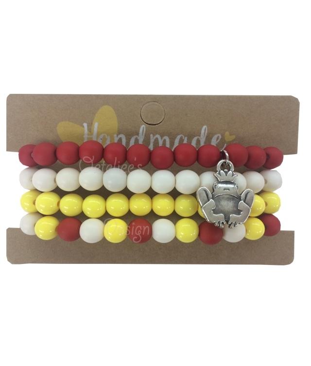 Armband Oeteldonk 4delig rood wit geel met kikkerbedel