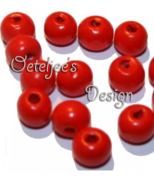 Houten kraal 8 mm rood (London bus red)