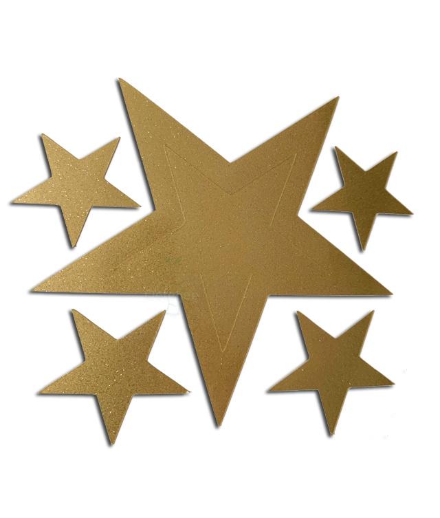 """Raam / muur sticker """"sterretjes"""" goudglitter no1"""