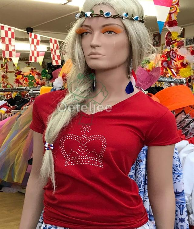 T-shirt dames rood met strass kroon