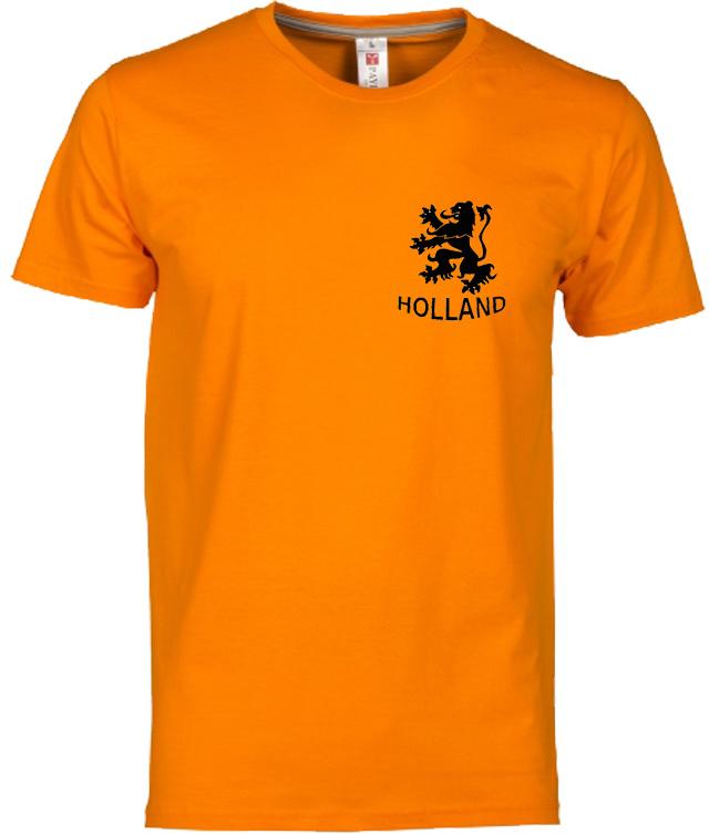 EK voetbal t-shirt heren oranje korte mouw leeuw en tekst Holland