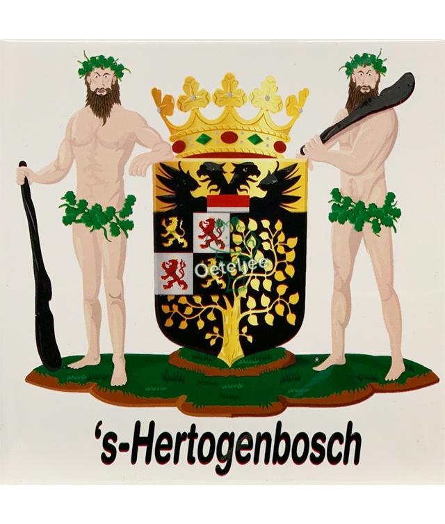 """Tegeltje met Wapen 's-Hertogenbosch """"Wildemannen"""""""
