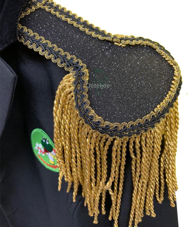Epauletten luxe zwart glitter met goud franje