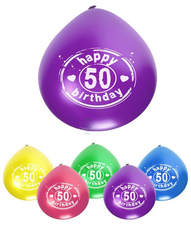 Ballonnen met opdruk 50 happy birthday