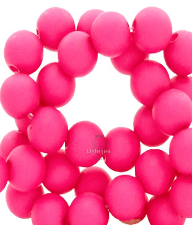 Acryl kralen mat rond 8mm Fluor pink