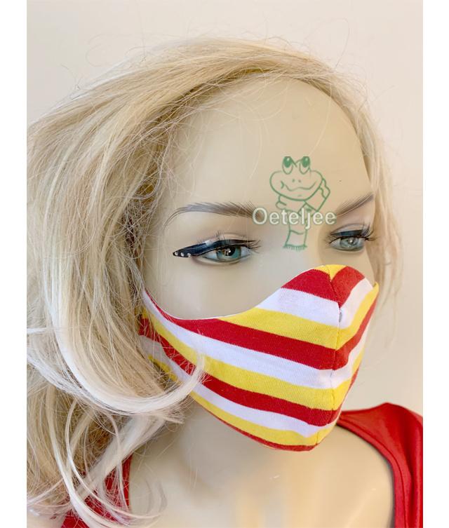 """Trendy mondkapje """"Oeteldonk rood/wit/geel"""" (m/v) no.49"""