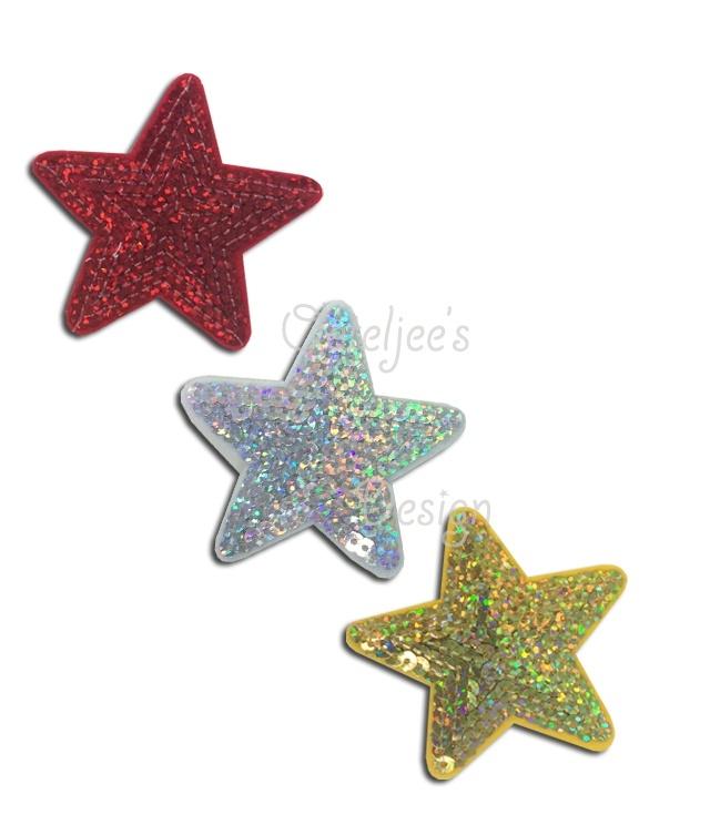 Pailletten sterretjes rood wit geel