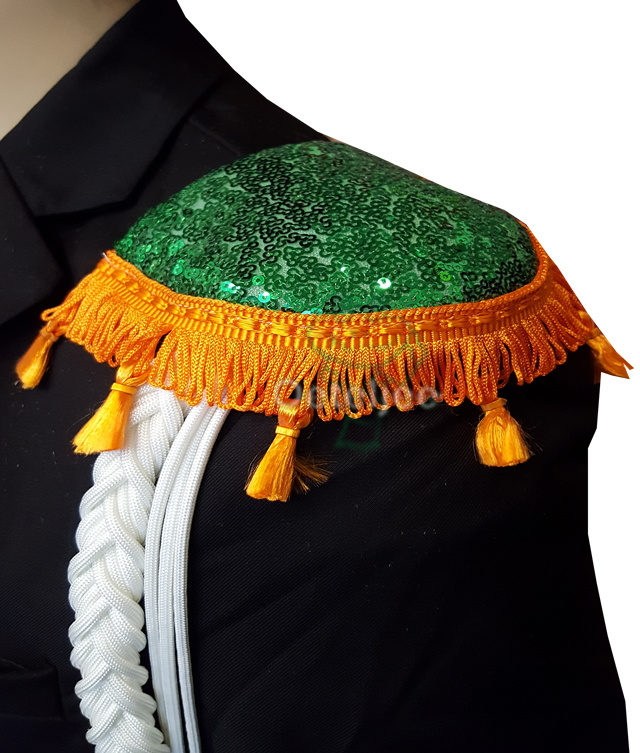 Epauletten groene pailletten met oranje flosjesband