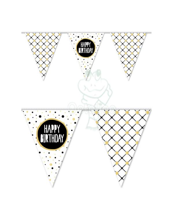 slinger / Vlaggenlijn Happy Birthday goud 10 meter