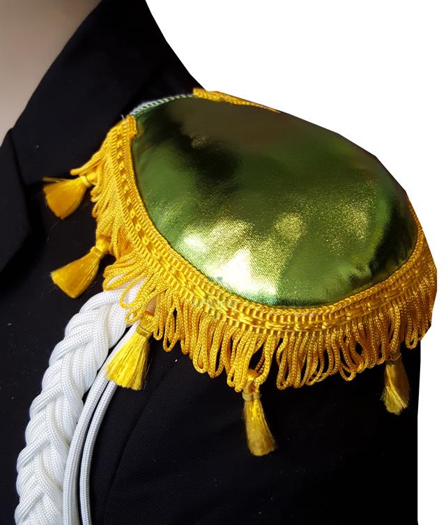 Epauletten groen glans met geel flosjesband