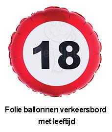 Folie verkeersbord ballonnen met leeftijd