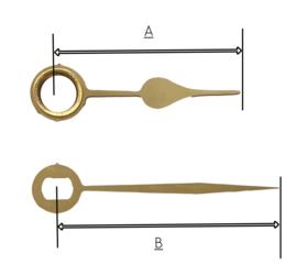 QEF17 Quarzt wijzerset, model 'schoppen' goudkleur 19/27 mm