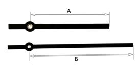 C004 zwarte moderne wijzerset voor quartz, 90/120 mm