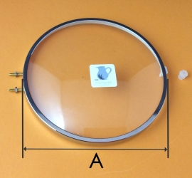 Chromen rand met bol glas, 130 mm