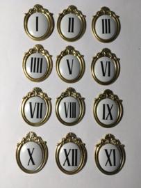 N65 Cartouches, Romeinse cijfers,  aluminium, 45 mm