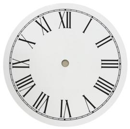 wp18.1 Ronde witte wijzerplaat met zwarte Romeinse cijfers, 177 mm