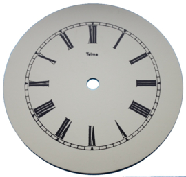109.27 egg shell aluminium clock dial, 145 mm