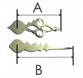 zk450. messing wijzerset voor Zaanse klok, 31/40 mm