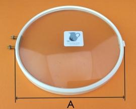 Kunststof rand met bol glas, 130 mm