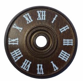 D61.1 Houten wijzerplaat met Romeinse cijfers in wit, 60 mm
