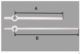 mod34.12 moderne wijzerset voor quartz, wit. 75/100 mm.