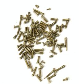 CO22 Lange nikkelen mini schroefjes voor uurwerken en monturen, ca 100 st. Zwitserland