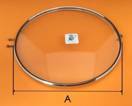 Chromen rand met bol glas, 190 mm