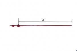 Stalen secondewijzer in rood voor elektrisch uurwerk, 110 mm
