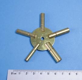 Veelzijdige messing stersleutel voor opwindas:  2,75 mm, 3,25 mm, 3,75 mm, 4,25 mm, 4,75 mm
