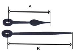 BE 759 Quarzt wijzerset, kunststof,  model 'schoppen' zwart 45/65 mm