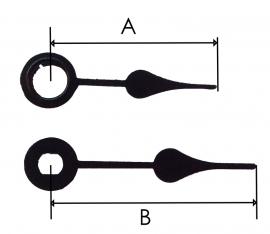 QEF090.1 Quarzt wijzerset, model 'schoppen' 24/31 mm