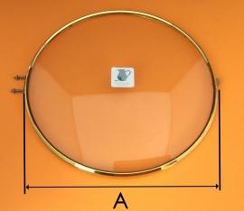 Messing rand met bol glas, 190 mm