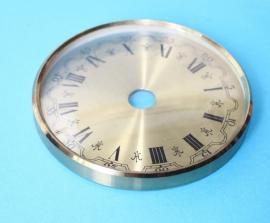 Messing glasrand met messing wijzerplaat. 85 mm