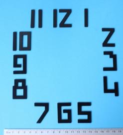 113.3  Messing cijferset zwart gelakt Art Deco stijl, 35 mm