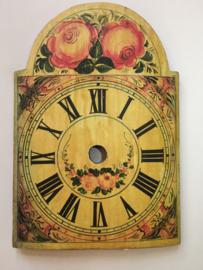 sw.7 antieke Schwartzwalder/appelklok wijzerplaat met floraal decor