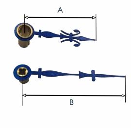 FRW 07. Pendule wijzers,  blauw staal, Franse lelie, 30/40 mm