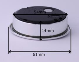 6180. Insteek quartz met zilverkleurige rand, 61 mm