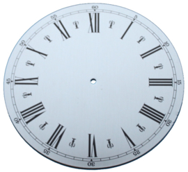 109.21 Aluminium clock, Roman figures, 130 mm
