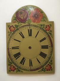 sw.5 antieke Schwartzwalder/appelklok wijzerplaat met floraal decor